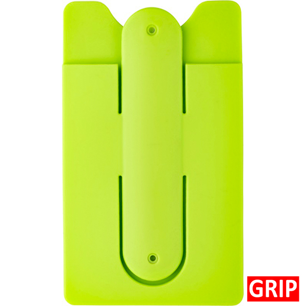 Green apple silicone phone wallet and stand with ear bud wrap