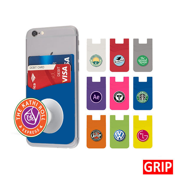 blue pop wallet phone stand silicone promotional marketing giveaway