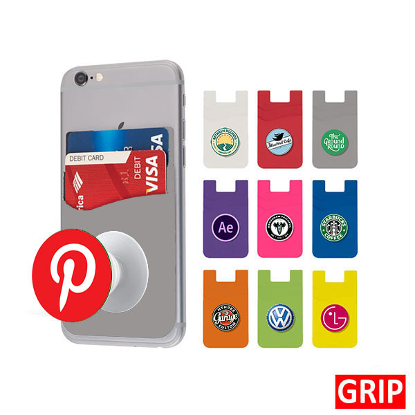 grey pop wallet phone stand silicone promotional marketing giveaway
