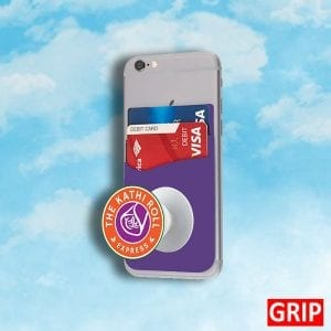 purple phone pop wallet for trade shows and b2b marketing giveaways