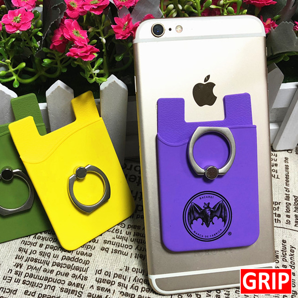 purple silicone card wallet and kickstand ring phone holder