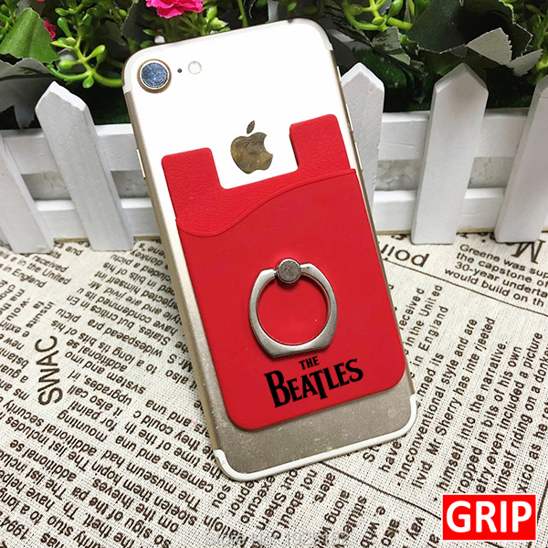 red silicone card holder wallet with ring stand