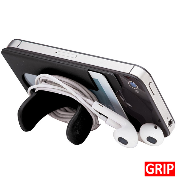silicone phone wallet and stand with ear bud wrap
