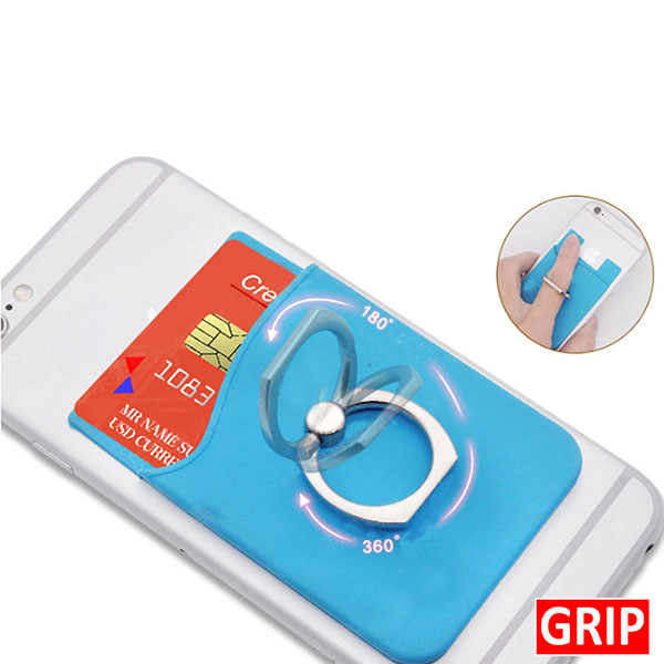 silicone stick on phone wallet with ring adhesive