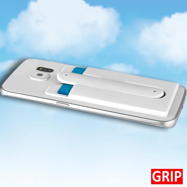 white-silicone-phone-wallet-and-kick stand grip